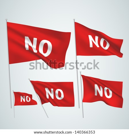 No - red vector flags. A set of wavy 3D flags created using gradient meshes. EPS 8 vector - stock vector