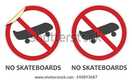 No skateboards signs in two vector styles depicting banned activities - stock vector
