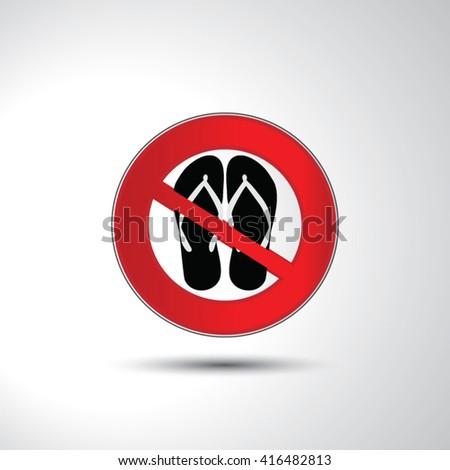 No slipper no sandals prohibition sign - stock vector