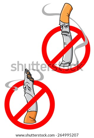 No Smoking Allowed warning signs with cartoon angry or dejected cigarettes crossed through in red circles - stock vector