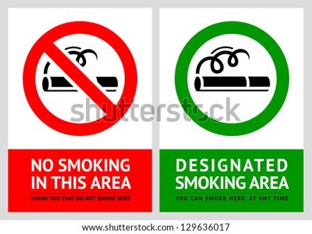 No smoking and Smoking area labels - Set 11, vector illustration - stock vector
