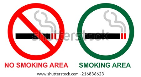 No smoking and Smoking area on white background - stock vector