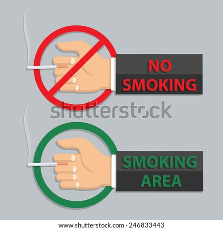 No smoking and smoking area sign - in flat style - stock vector