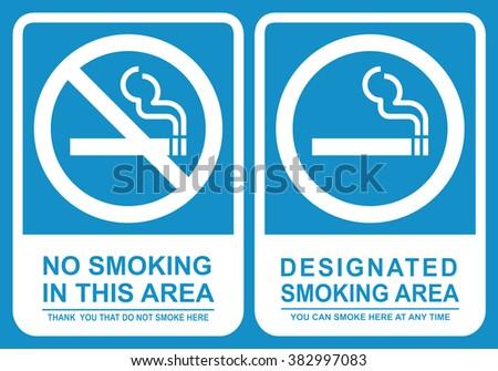 No smoking and Smoking area sign set . Vector illustration - stock vector