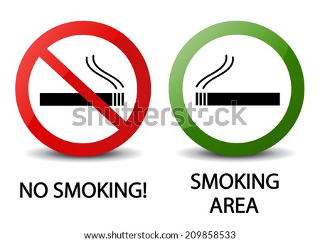 No smoking and smoking area signs - stock vector