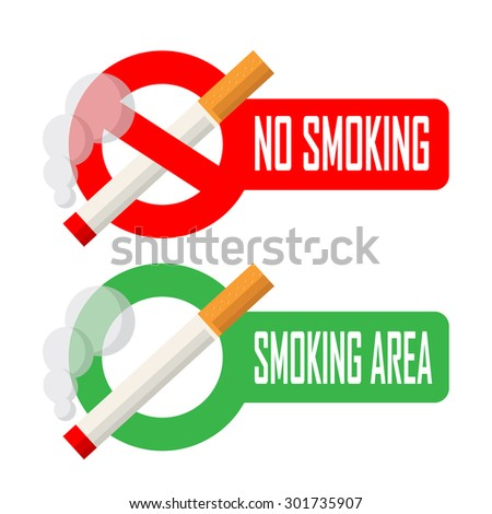 No smoking and smoking area signs