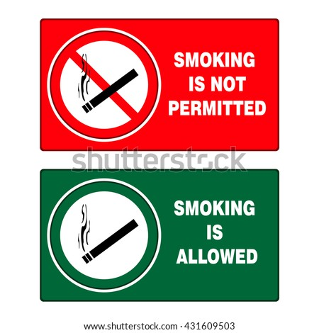 No smoking and smoking area signs on white background, vector illustration - stock vector
