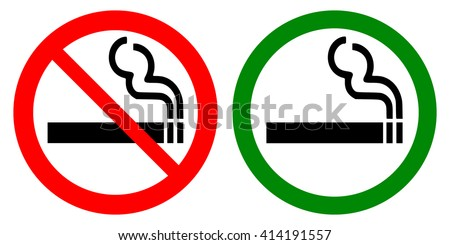 No smoking and smoking area signs set , vector illustrations on white background - stock vector