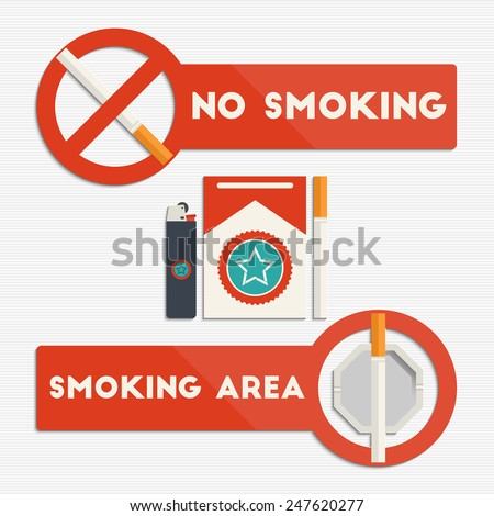 No smoking and smoking area signs with cigarettes and lighter for your design - stock vector