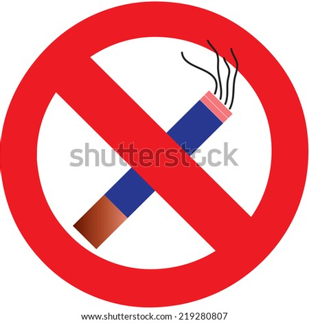 No Smoking Cigarette Area Sign for Public Health Vector. - stock vector