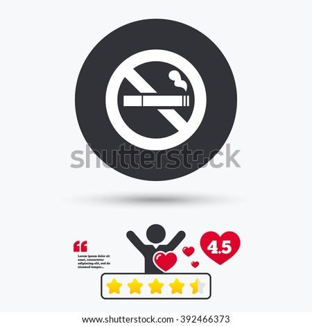 No smoking icon. No smoking flat symbol. No smoking art illustration. No smoking flat sign. No smoking graphic icon. Star vote ranking. Client or customer like. - stock vector