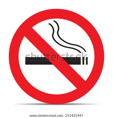No smoking icon with shadow on white background vector - stock vector