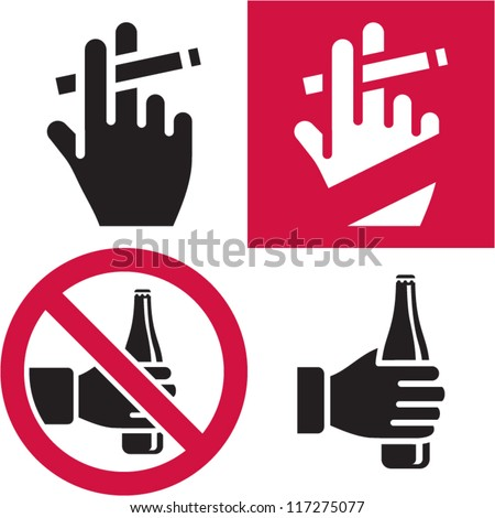 No smoking. No alcohol. Smoking area. Drinking. - stock vector