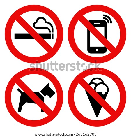 No smoking, No cell phone, No dogs and No eating prohibited signs isolated on white background - stock vector