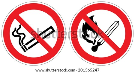 No smoking, No open flame; Fire, open ignition source and smoking prohibited signs (eps 10) - stock vector