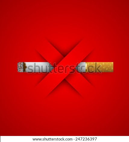 No smoking prohibition sign placed on red background - stock vector