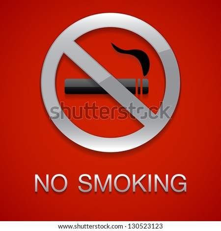 No smoking red background - stock vector