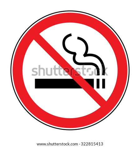 No smoking sign. A sign showing no smoking is allowed. Red round no smoking sign. Smoking prohibited symbol isolated on white background. Stock Vector Illustration - stock vector