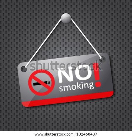 no smoking sign hanging on grey dotted texture - stock vector
