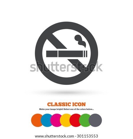 No Smoking sign icon. Cigarette symbol. Classic flat icon. Colored circles. Vector - stock vector