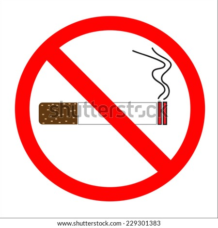No smoking sign. No smoke icon. Stop smoking symbol. Vector illustration. Filter-tipped cigarette. Icon for public places - stock vector