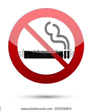 No smoking sign on white - stock vector