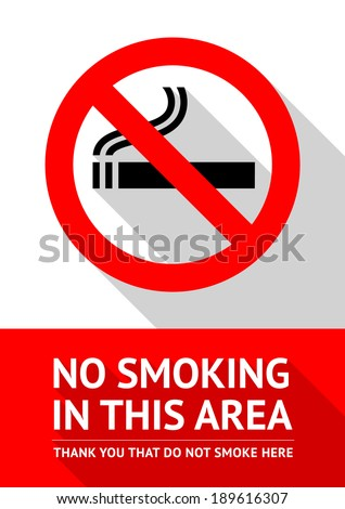 No smoking sticker, flat vector illustration - stock vector