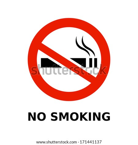 No smoking symbol and text on white background - stock vector
