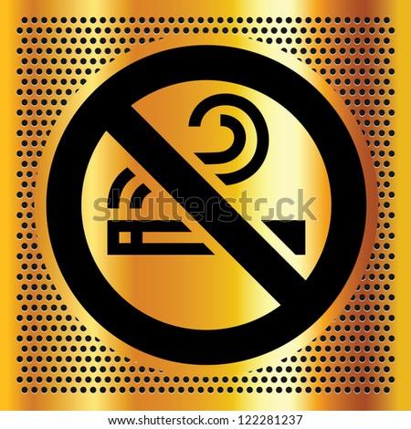 No smoking symbol on a bronze backdrop - stock vector