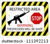 no trespassers allowed sign against white background, abstract vector art illustration - stock vector