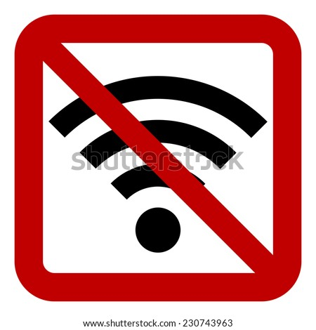 No Wi-Fi sign on white background.  Vector illustration. - stock vector