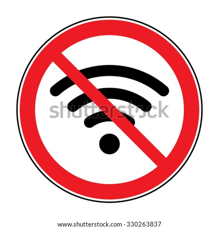 No wifi sign. Not wi-fi area symbol. Ban wi fi internet icon. Wireless Network icon. Wifi zone. Red circle connection prohibition emblem isolated on white background. Stop symbol. Flat design. Vector - stock vector