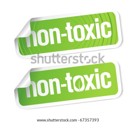 Non toxic product stickers set. - stock vector
