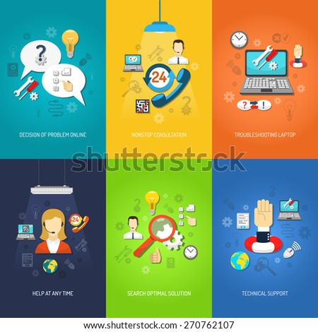 Nonstop computer technical support and troubleshooting mini poster set multicolored isolated vector illustration - stock vector