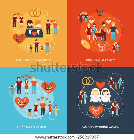 Nontraditional family 4 flat icons composition gay and lesbian homosexual couples and polygamy abstract isolated vector illustration - stock vector