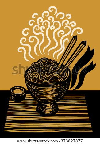 noodles and chopsticks - stock vector