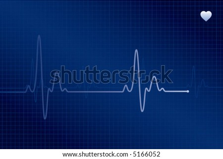 Normal ECG (electronic cardiogram) blue - stock vector