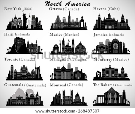 North America countries landmarks and cities skylines set - stock vector