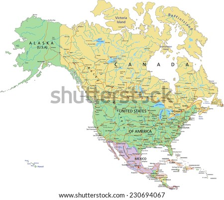 North America - Highly detailed editable political map with separated layers. - stock vector