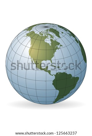 North America map. Europe, Greenland, North Pole, South America - stock vector