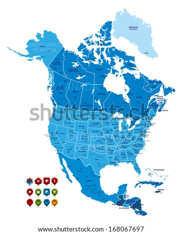 North America Map (high detailed) - stock vector