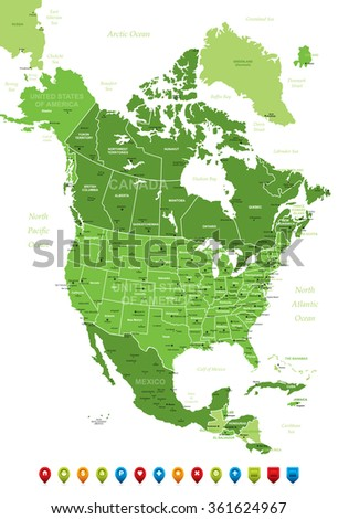 North America Map-High detailed green illustration - stock vector