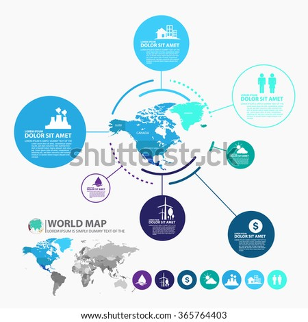 north America map infographic - stock vector