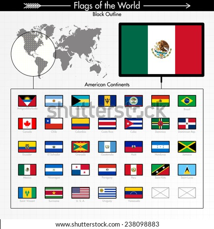 North American and South American flags, black outline edition. Part 1/6  - stock vector