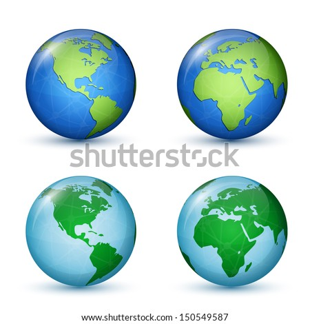 North and South America, Africa and Europe. World Map. Vector illustration - stock vector