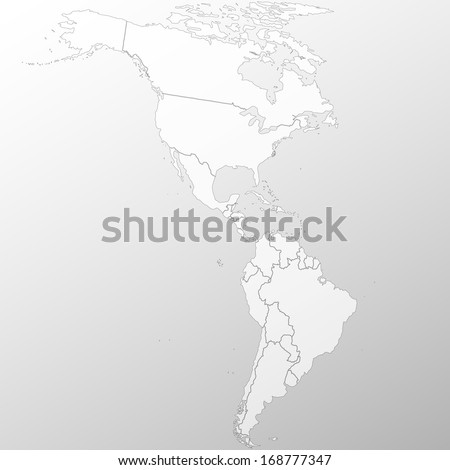 North and South America map background vector - stock vector