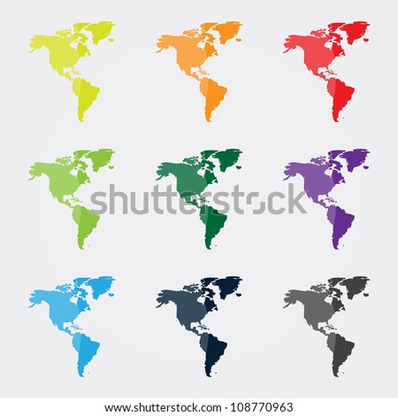 North and South America Map in Different Colors - stock vector