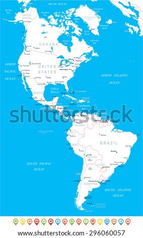 North and South America - map, navigation icons - illustration  - stock vector