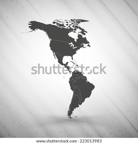 North and South America map on gray background, grunge texture vector illustration. - stock vector