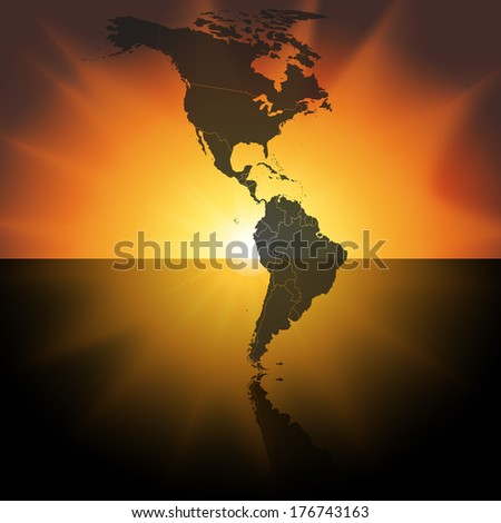 North and South America map on the sunset background vector - stock vector